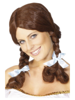 Brown Plaited Country Girl Wig with White Ribbons