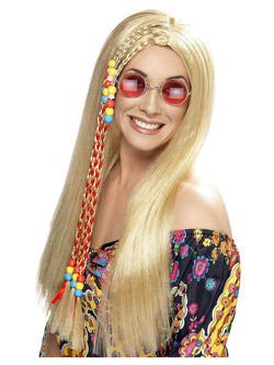 Long Blonde with Coloured Beads Hippy Party Wig