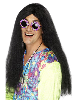 Black Long with Centre Parting Hippy Wig