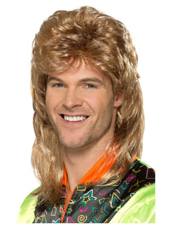 Brown Mullet Wig with Blonde Highlights