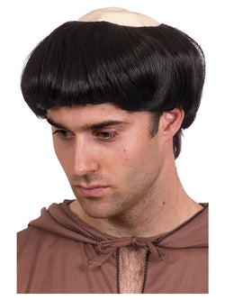 Black Short Monks Wig with Plastic Top