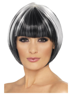 Black Quirky Bob Wig with White Streaks