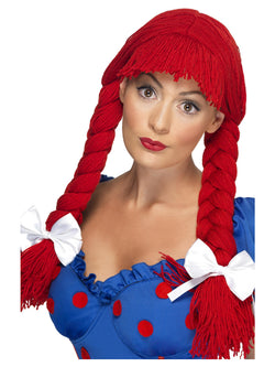 Red Rag Doll Wig Pigtails with a Fringe and Bows