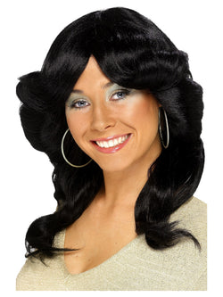 Black Long 70's Flick Wig