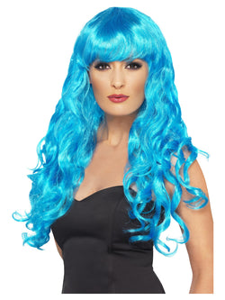Long Blue Siren Wig Curly with Fringe