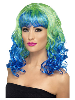 Green and Blue Curly Divatastic Wig
