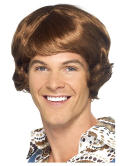 Light Brown Men's Disco Mullet Wig