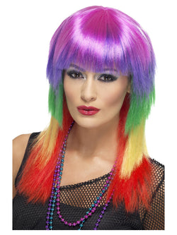 Long with Fringe Rainbow Rocker Wig