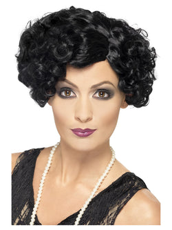 Short and Wavy 20's Black Flirty Flapper Wig