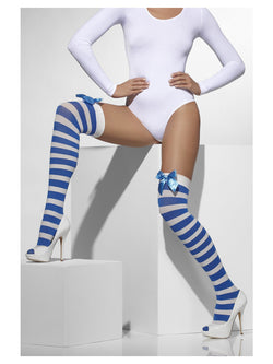Blue & White Opaque Hold-Ups Striped With Bow