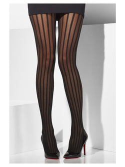 Black Sheer Tights with vertical stripes