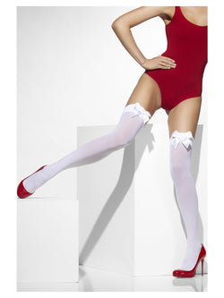 White Opaque Hold-Ups with White Bows