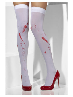 White Opaque Hold-Ups with Blood Stain Print