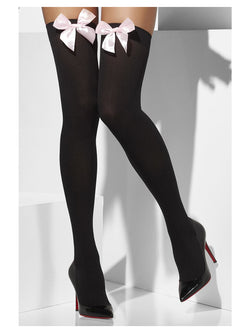 Black Opaque Hold-Ups with Pink Bows