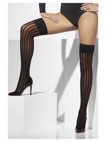 Sheer Hold-Ups, Black, With Vertical Stripes