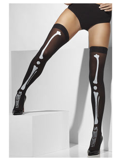 Opaque Hold-Ups, Black, with Skeleton Print - The Halloween Spot
