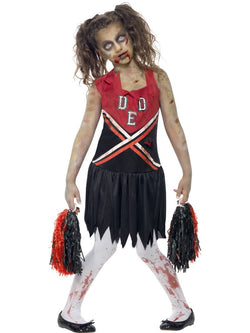 Girl's Zombie Cheerleader Red & Black Costume