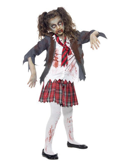 Girl's Zombie School Girl Grey Costume Set