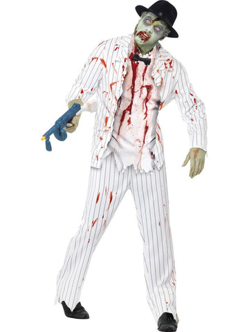 Men's Zombie Gangster White Costume Set