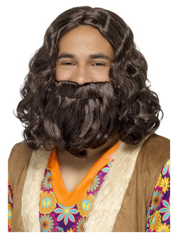 Brown Hippie/Jesus Wig & Beard Set