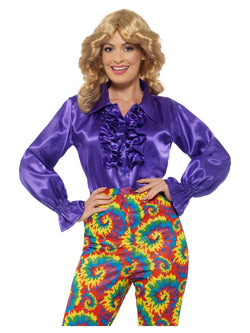 Satin Ruffle Shirt, Ladies, Purple