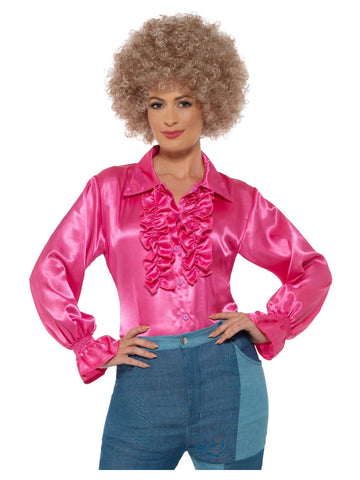 Women's Disco Satin Ruffle Shirt