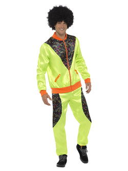 Mens Retro Shell Suit Neon Green Costume