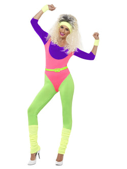 Women's 80s Work Out Costume, with Jumpsuit