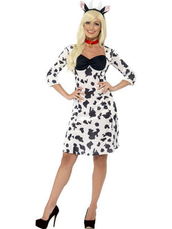 Women's Black and White Cow Costume