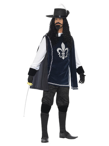 Men's Musketeer Male Costume, with Top, Hat