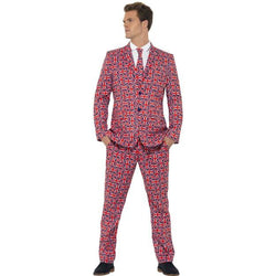 Men's Red Colour Union Jack Suit