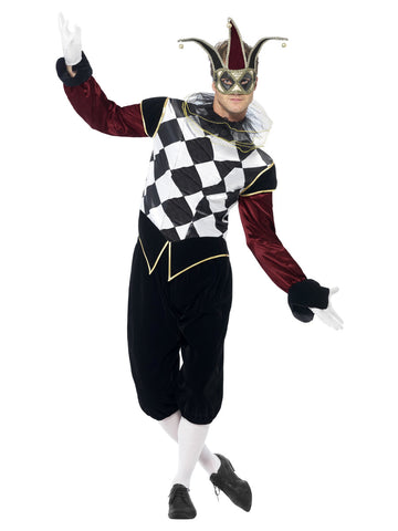 Menu0027s Gothic Venetian Harlequin Costume  sc 1 st  The Halloween Spot : harlequin jester costume  - Germanpascual.Com