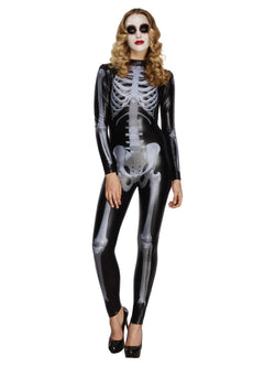 Women's Fever Miss Whiplash Skeleton Catsuit - The Halloween Spot