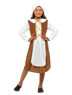Brown coloured Tudor Girl Costume