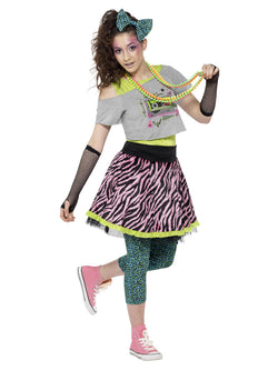 Teen 80s Multicolored Wild Child Costume