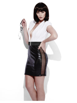Women's Fever Role-Play Secretary Wet Look Costume