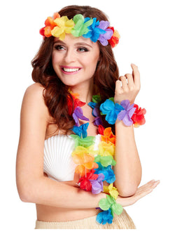 Multicoloured Rainbow Hawaiian Set