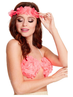 Neon Pink Hawaiian Flowered Bra