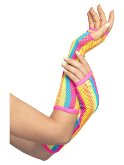Fishnet Gloves, Long, Neon, Striped