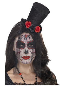Black Day of the Dead Mini Top Hat