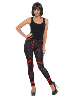 Horror Leggings, Black & Red, with Blood Splatter