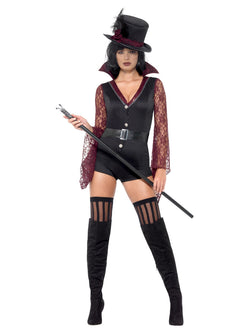 Fever Vampire Costume, Black, with High Collar Bodysuit, Attached Belt & Hat