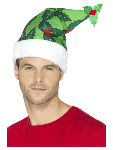Holly Berry Green Santa Hat