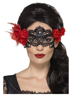 Black Day of the Dead Lace Filigree Eyemask
