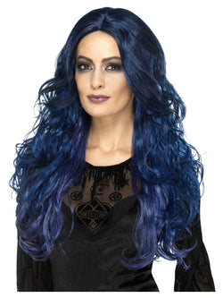 Blue & Black Occult Witch Siren Wig