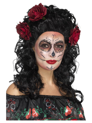 Deluxe Day of the Dead Black Wig