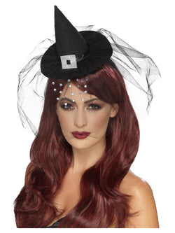 Black coloured Gothic Mini Witch Hat