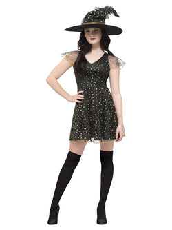Black & Gold Fever Moon & Stars Witch Costume