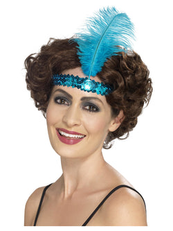 Blue Flapper Headband with feather