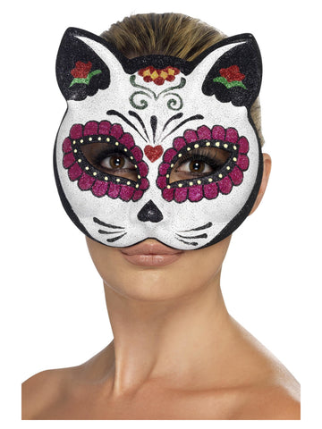Smiffy's Sugar Skull Cat Glitter Eyemask
